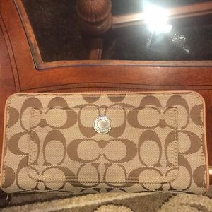 Coach Signature zip around wallet